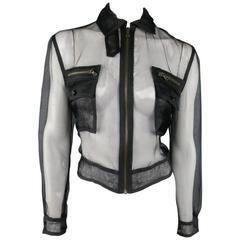 RALPH LAUREN Black Label Size 2 Black Sheer Silk Tulle Cropped Cargo Jacket