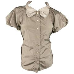 Marc Jacobs Taupe and Beige Silk Ballon Sleeve Bow Blouse Top Shirt