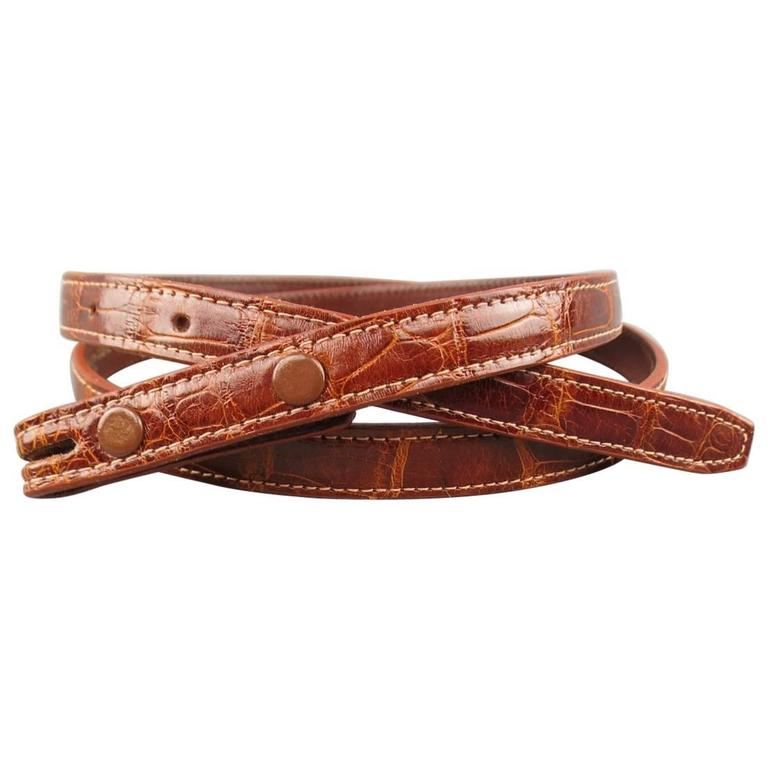 KIESELSTEIN-CORD Tan Alligator Leather Skinny Belt Strap