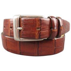 Vintage WILKES BASHFORD Size 32 Brown Crocodile Leather Dress Belt