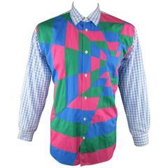 COMME des GARCONS XL Light Blue Gingham Pink & Green Geometric Patchwork Shirt