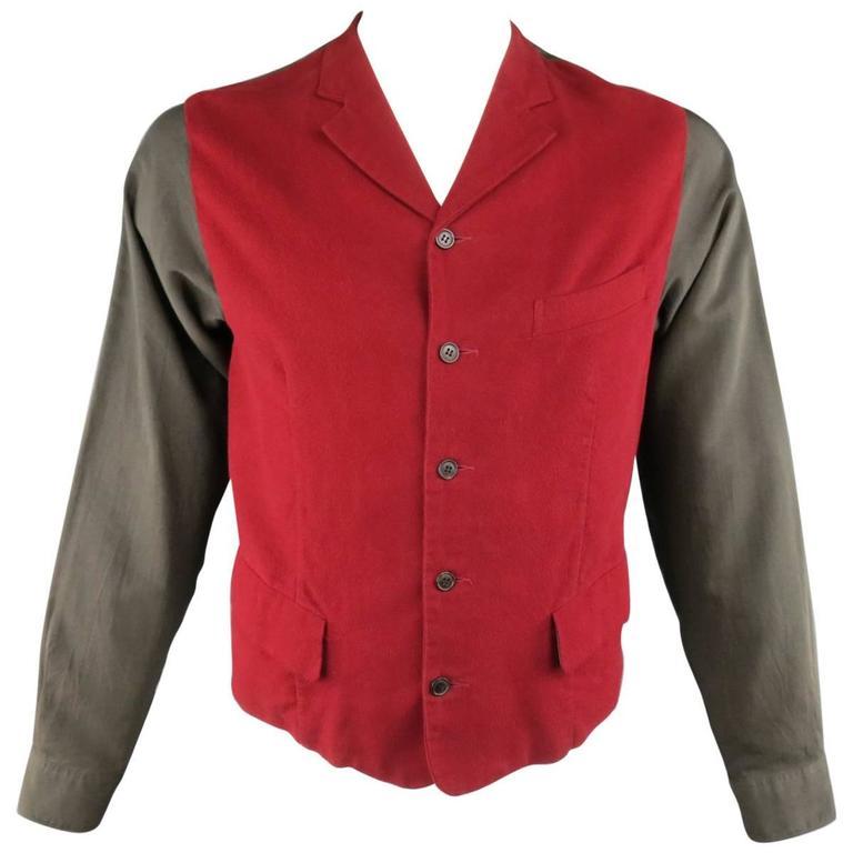 COMME des GARCONS Size L Burgundy & Gray Two Toned Vest Front Long Sleeve Shirt