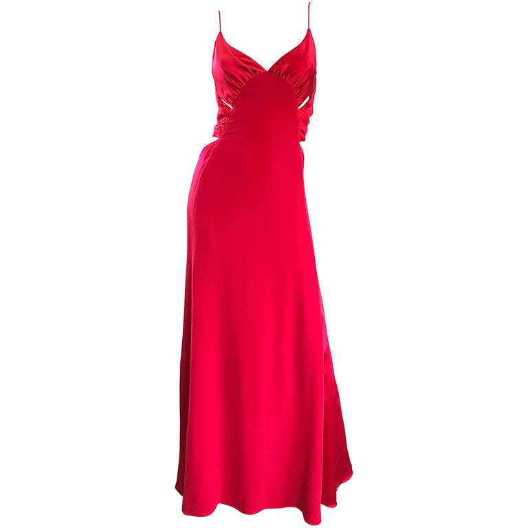 1990s Angel Sanchez Lipstick Red Cut - Out Silk + Satin Sexy Evening Gown Size 6