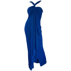 Randolph Duke 1990s Navy Blue Sz 8 Jersey Asymmetrical Vintage 90s Grecian Gown