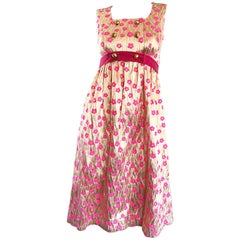 Incredible 1960s Gold and Pink Poppy Flower Print Vintage 60s A Line Silk Dress
