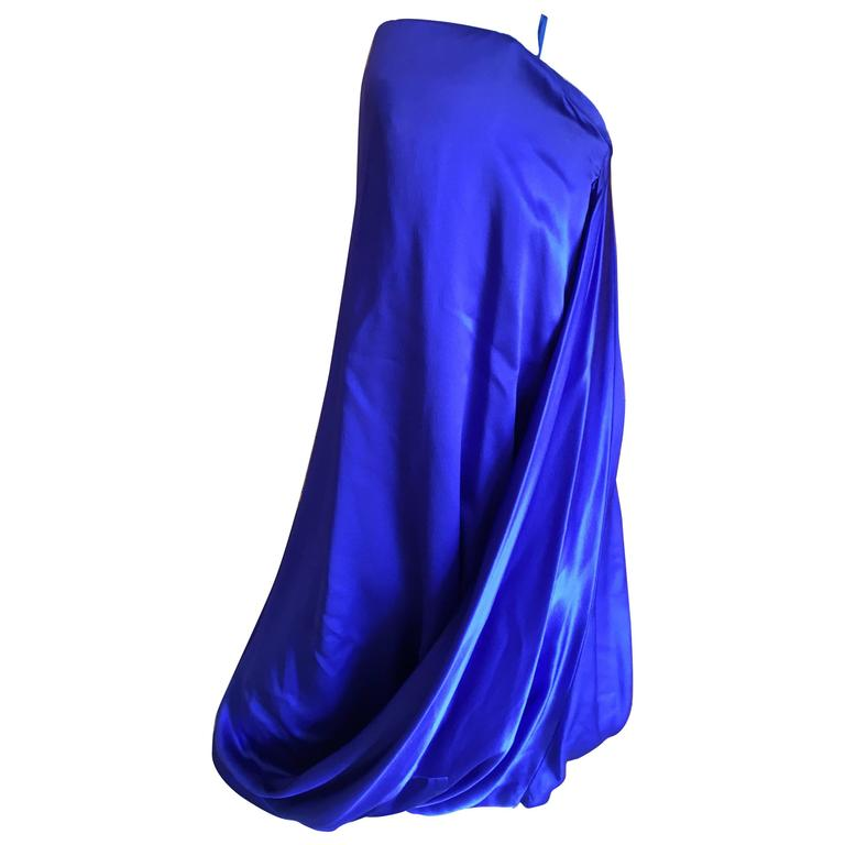 Alexander McQueen 2009 Royal Blue Draped Strapless Dress with Inner Corset For Sale