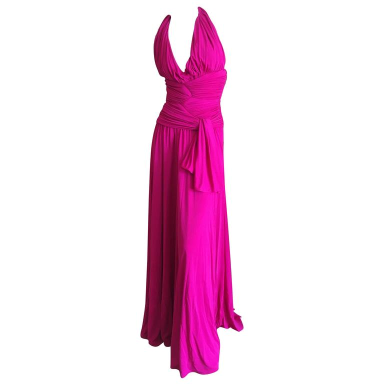 Giambattista Valli Fuchsia Low Cut Halter Dress 1