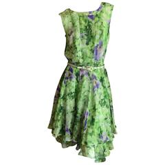 Oscar de la Renta Silk Floral Dress with Belt and Sweater