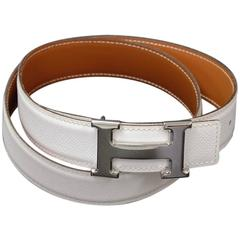 Hermes White x Brown Leather x Silver Tone H Buckle Belt Size 80