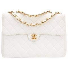 1990s Chanel White Quilted Caviar Leather Vintage Jumbo Flap Bag