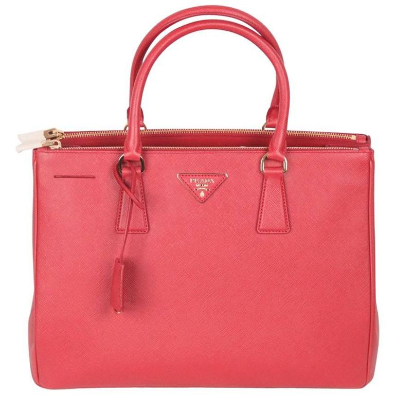 PRADA Red FUOCO SAFFIANO LUX Leather TOTE Satchel 1BA274 1