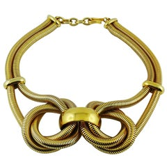 Celine Vintage Chunky Gold Toned Snake Chain Knot Necklace
