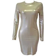 Very Rare Gianni Versace Couture Gold Stretch Dress Fall 1994