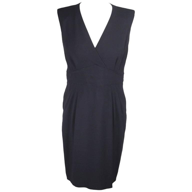 HERMES Navy Blue SHEATH DRESS Sleeveless SIZE 36 For Sale at 1stdibs