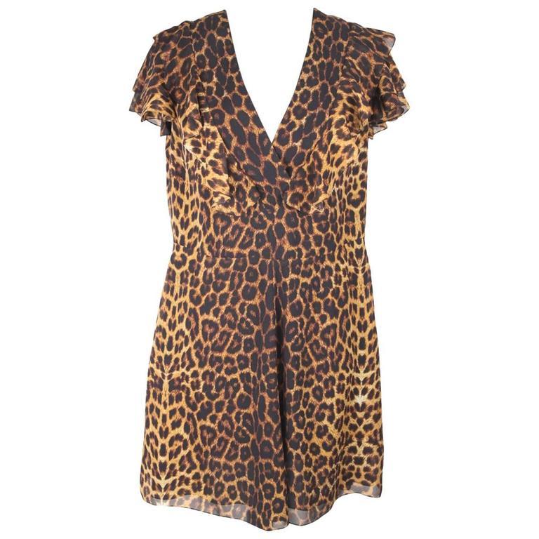 SAINT LAURENT Brown And Black Leopard Print Silk RUFFLED DRESS