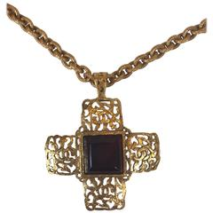 Chanel Vintage Red Gripoix Cross Pendant Necklace