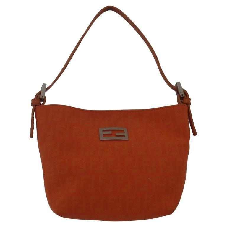 Fendi Orange Monogram Small Bag Silver Hardware