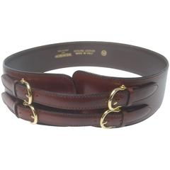 Henri Bendel Italy Wide Tobacco Brown Leather Belt