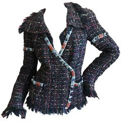 Chanel Vintage Tweed Jacket with Genuine Multi Semi Precious Hardstone Trim