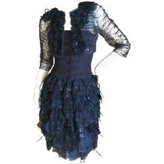 Oscar de la Renta Strapless Vintage Navy Blue Evening Dress with Bolero Jacket