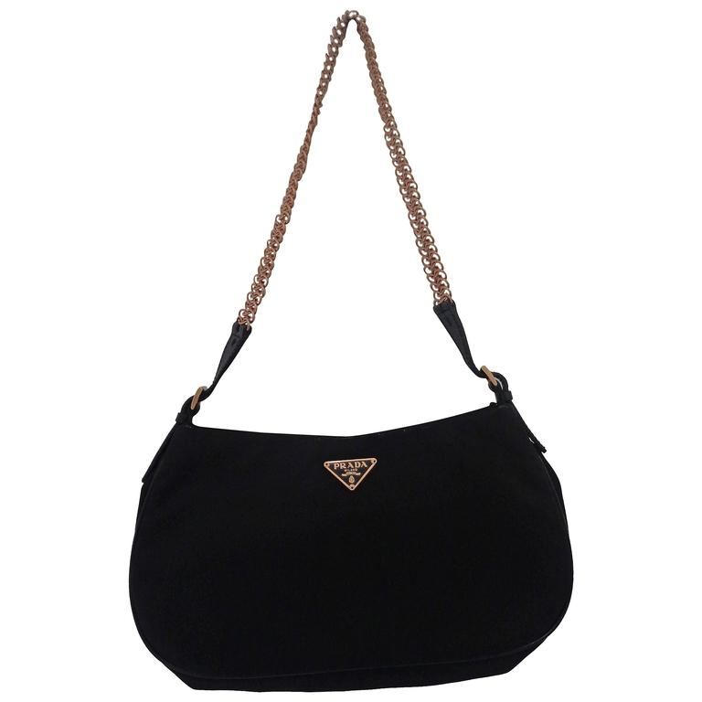 Prada Black Canvas Gold Tone Chain Shoulder Bag