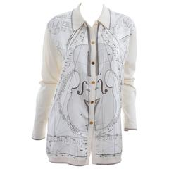 "Vintage Hermes 100% Silk Cardigan "" La Musique Des Spheres "" Like New"