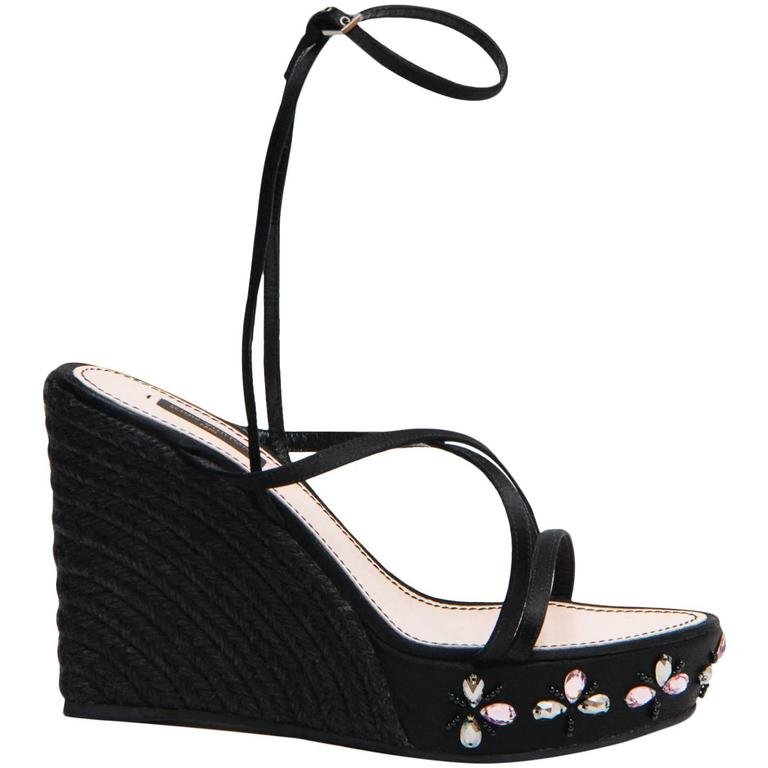 Louis Vuitton Black Satin & Crystals Wedges For Sale