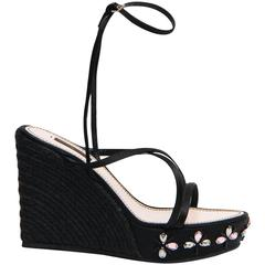 Louis Vuitton Black Satin & Crystals Wedges