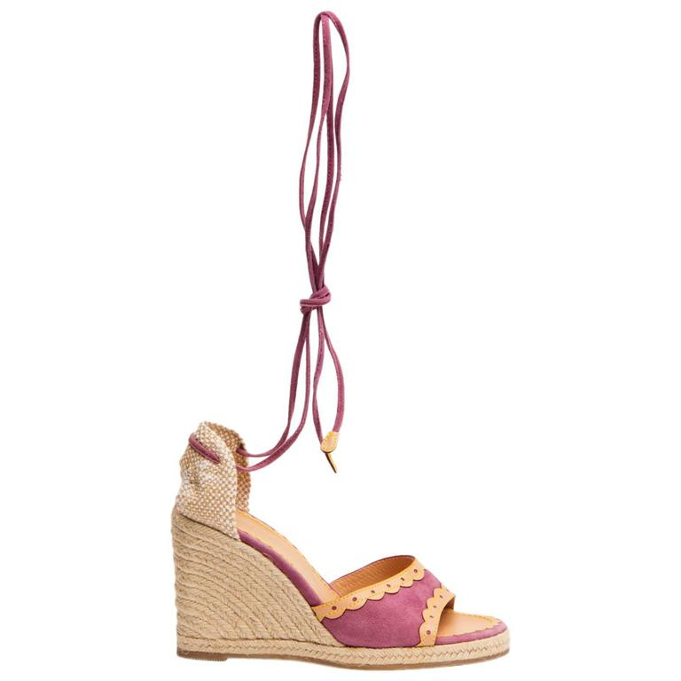 Louis Vuitton Purple Suede & Tan Leather Wedges