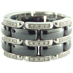 Exquisite Chanel Ultra Ring Large in Black Ceramic 18K White Gold + Diamonds 7