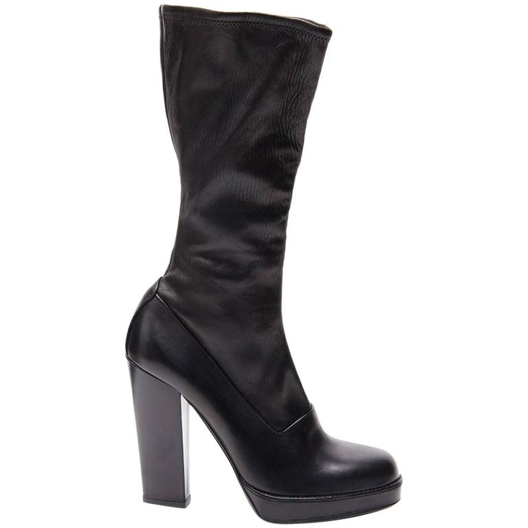 Prada Black Leather High Boots