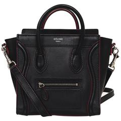 Celine Black Leather Nano Luggage Tote Crossbody Bag w/ Red Trim