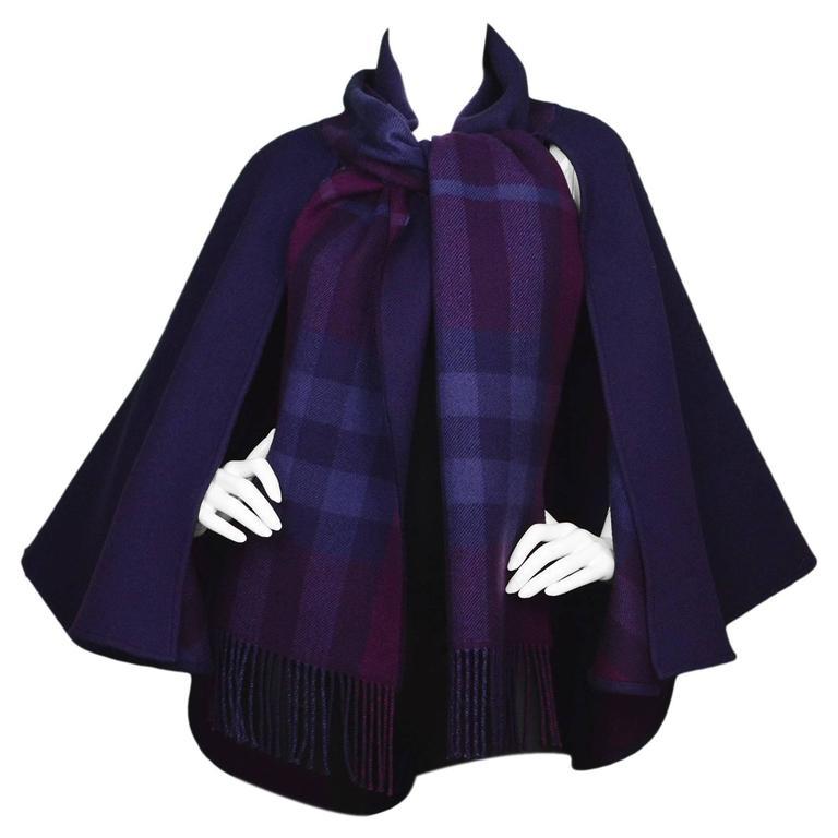 Burberry Purple & Nova Print Wool Cape Poncho 1