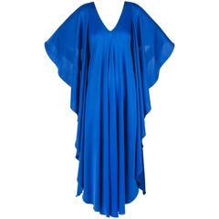 HALSTON c.1970's Royal Blue Jersey Knit Evening Caftan Gown