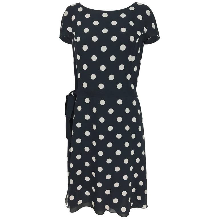 Vintage Valentino cream and black silk polka dot chiffon dress 1980s