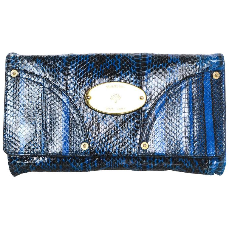 26265fdb62e6 Mulberry Black and Blue Snakeskin Clutch Bag For Sale at 1stdibs