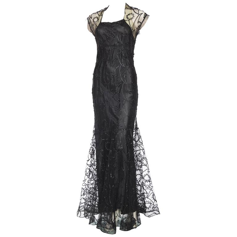 1930s Embroidered Sheer Net Gown with Bias Lining For Sale