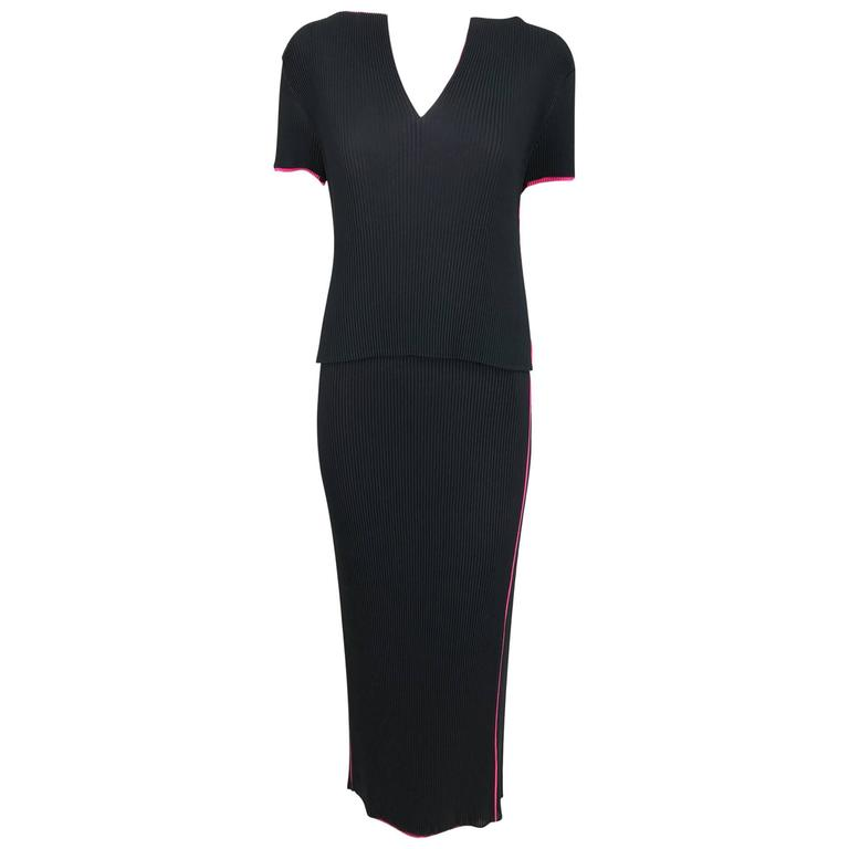 Issey Miyake black and hot pink pleated V neck top and narrow skirt  1