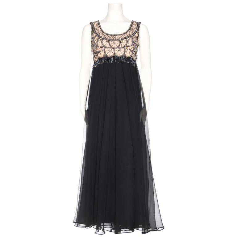 1960s Chiffon Gown with Beaded and Fringed Bodice
