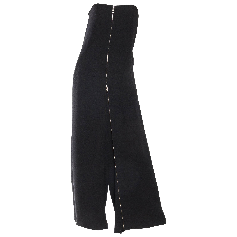 2000S JEAN PAUL GAULTIER Black Jumpsuit , Central Zipper Turns It Into A Dress