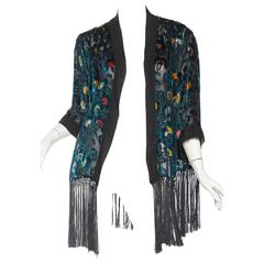 1920s Sheer Silk Velvet Kimono Jacket with Fringe