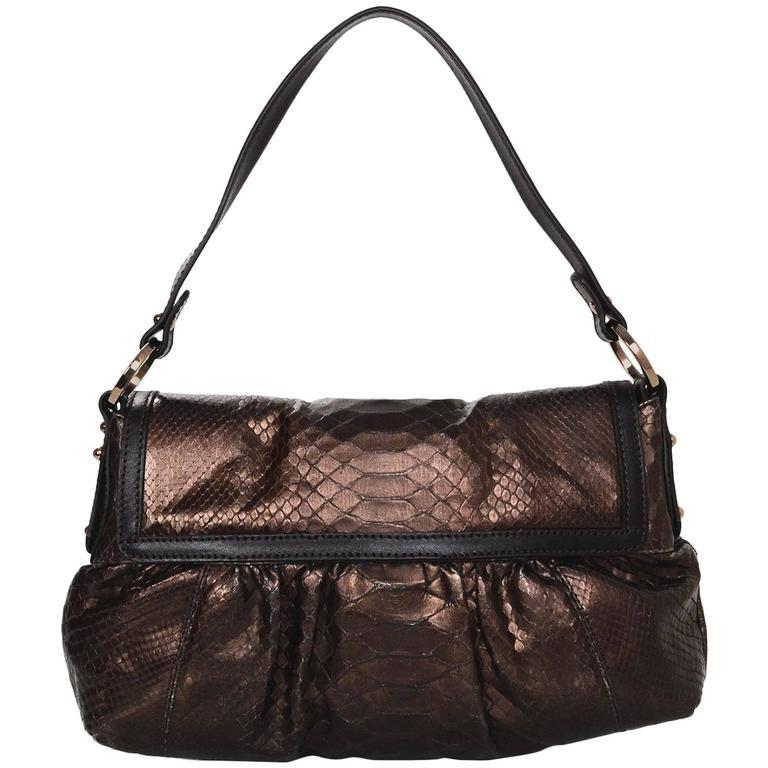 Fendi Bronze Python Chef Baguette Flap Bag rt. $1,500