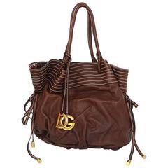 Dolce & Gabbana NEW Brown Leather Drawstring Bag rt. $1,450