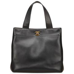 Black Chanel Leather Tote Bag