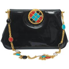 Black Patent Bag with Enamel, France