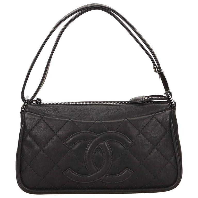 Black Chanel Quilted Leather Shoulder Bag 1