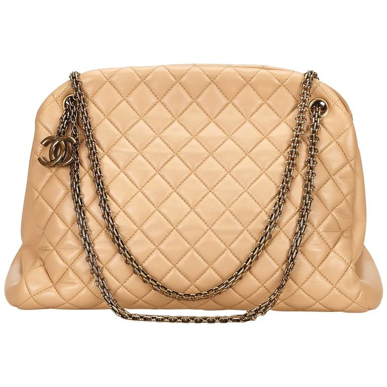 Beige Chanel Mademoiselle Bowling Bag For Sale