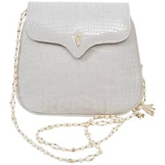 Lana White Alligator Clutch with Two Shoulder Straps
