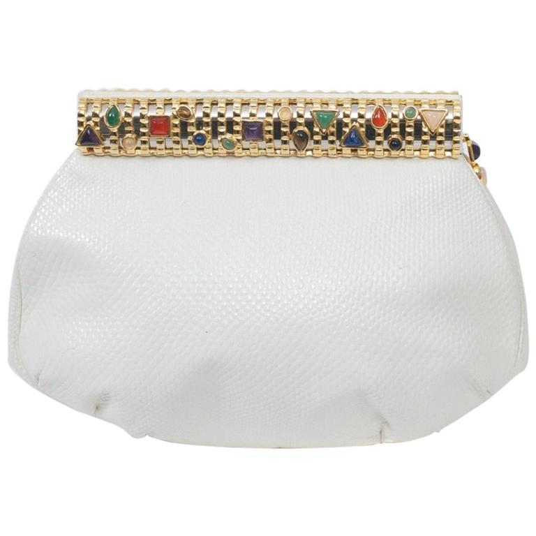 Judith Leiber White Karung Clutch  For Sale