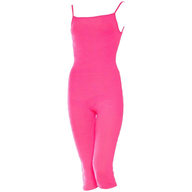 1990s Hot Pink Chanel Logo Bodysuit 1